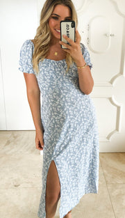 Khloe Dress - Blue Print-Dresses-Womens Clothing-ESTHER & CO.