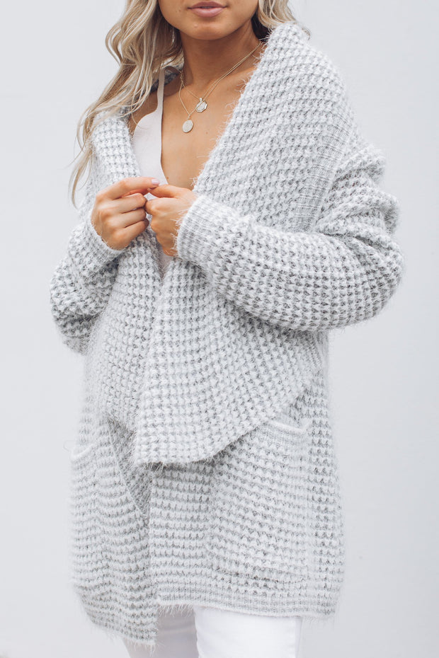 Kygo Knit Cardigan - Grey/white-Cardigans-Luvalot-ESTHER & CO.