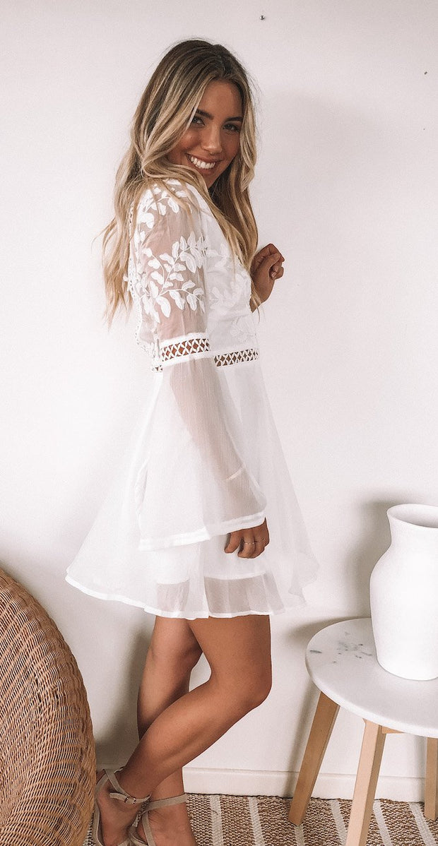 Laela Dress - White-Dresses-Womens Clothing-ESTHER & CO.