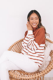 Lavina Jumper - Tan Stripe-Tops-Womens Clothing-ESTHER & CO.