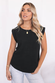 Leandra Tee - Black-Tops-Womens Clothing-ESTHER & CO.
