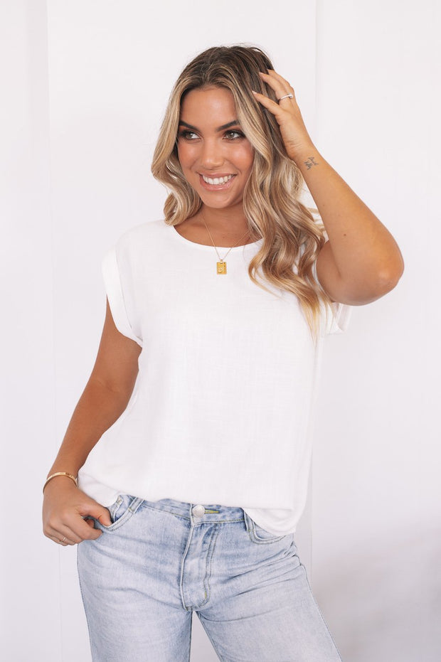 Leandra Tee - White-Tops-Womens Clothing-ESTHER & CO.