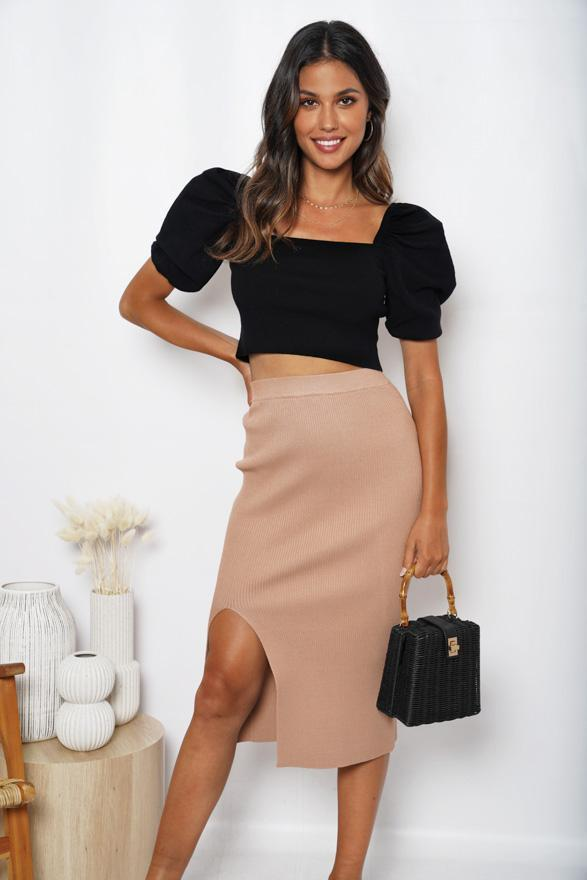 Liaison Skirt - Tan-Skirts-Womens Clothing-ESTHER & CO.