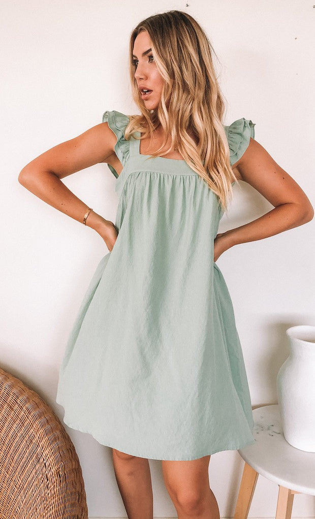 Limeonade Dress - Faded Sage-Dresses-Womens Clothing-ESTHER & CO.