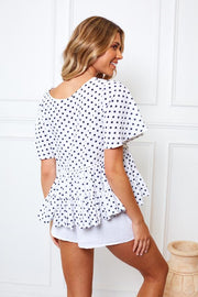 Limoncella Top - White Print-Tops-Womens Clothing-ESTHER & CO.