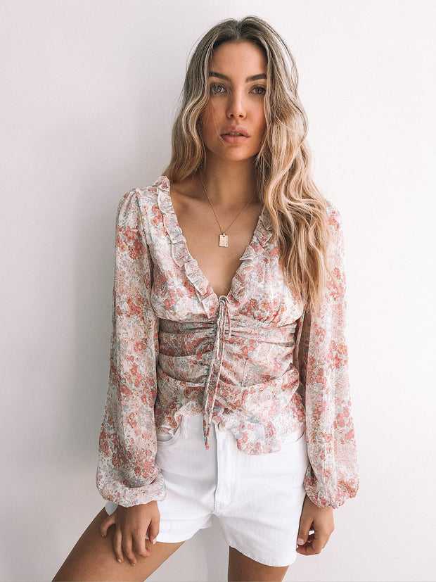 Lisah Top - Pink Print-Tops-Womens Clothing-ESTHER & CO.