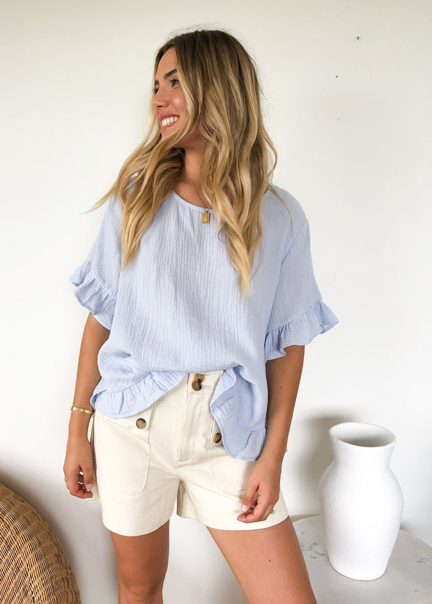 Lisbeth Top - Blue-Tops-Womens Clothing-ESTHER & CO.