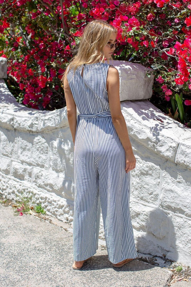 Listen Out Jumpsuit - Navy Stripe-Jumpsuits-Miracle Fashions-ESTHER & CO.
