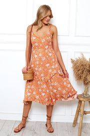 Lorri Dress - Orange Print-Dresses-Womens Clothing-ESTHER & CO.