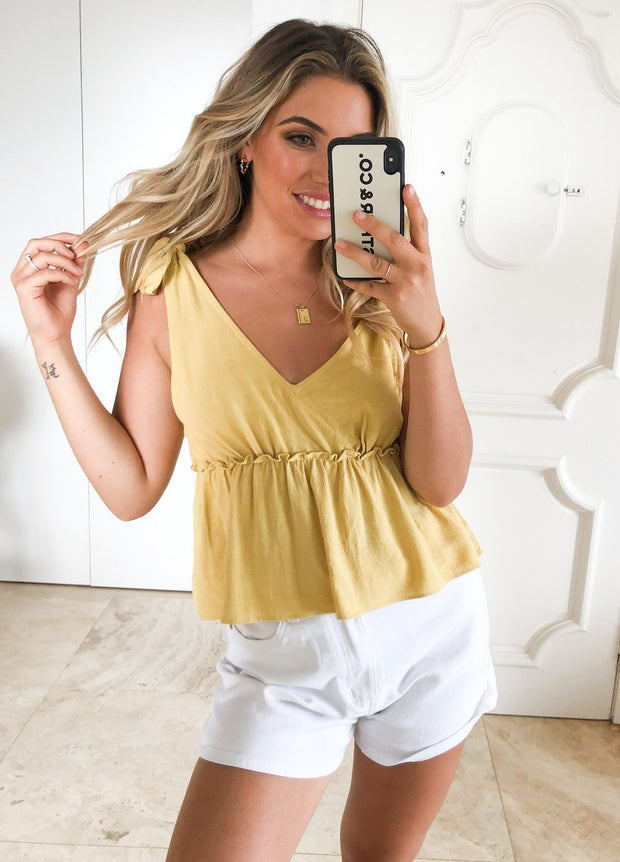 Louisa Top - Yellow-Tops-Womens Clothing-ESTHER & CO.