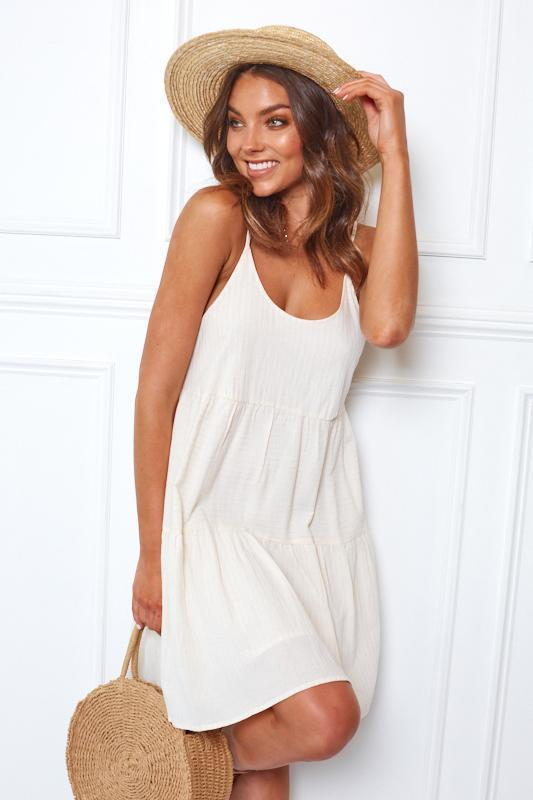 Lounger Dress - Beige-Dresses-Womens Clothing-ESTHER & CO.