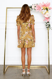 Preorder Lucia Dress - Mustard Print-Dresses-Womens Clothing-ESTHER & CO.