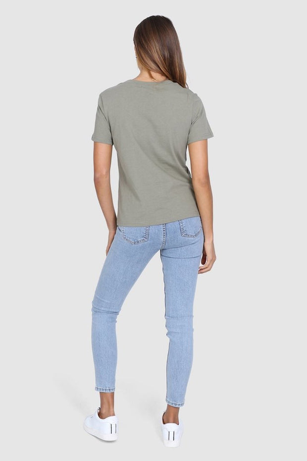 Madison Embroidered Tee - Khaki-Tops-Womens Clothing-ESTHER & CO.