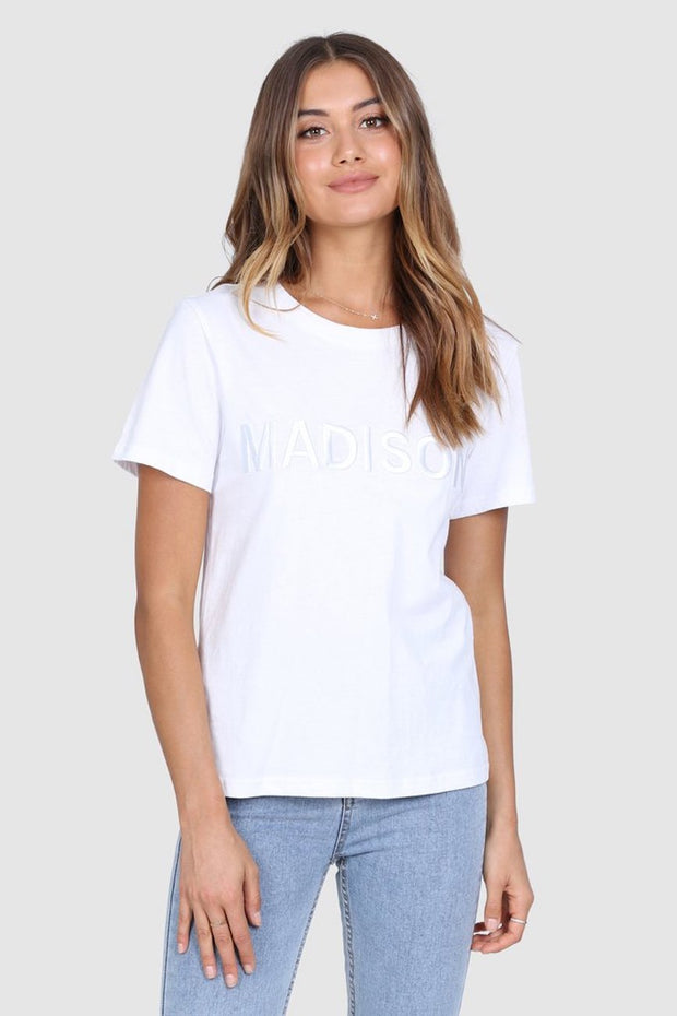 Madison Embroidered Tee - White-Tops-Womens Clothing-ESTHER & CO.