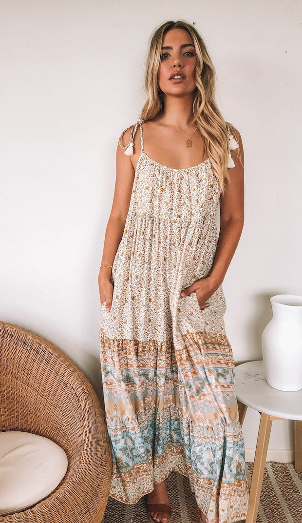 Mahala Dress - Beige Print-Dresses-Womens Clothing-ESTHER & CO.