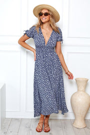 Malay Dress - Navy Print