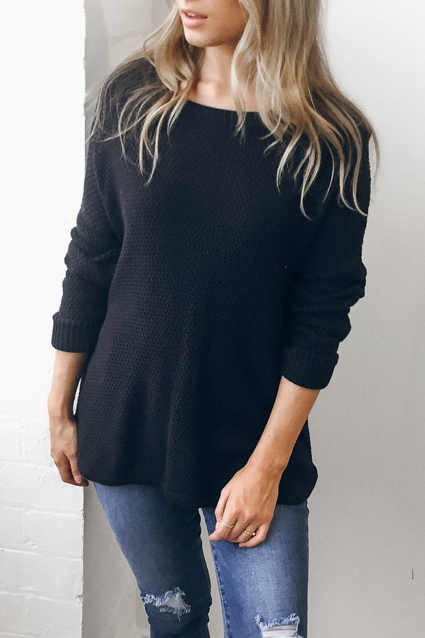Mandy Jumper - Navy-Tops-Womens Clothing-ESTHER & CO.