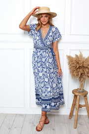 Marigold Dress - Blue Print