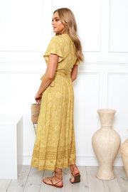 Marigold Dress - Mustard Print