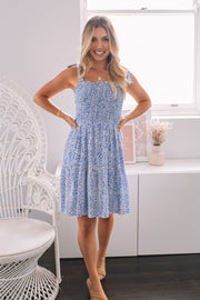 Maureen Dress - Blue Print-Dresses-Womens Clothing-ESTHER & CO.