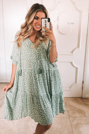 Melon Dress - Sage Print-Dresses-Womens Clothing-ESTHER & CO.