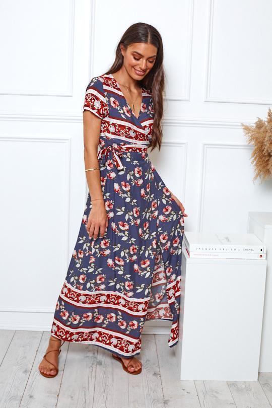 Moonlight Dress - Navy Print-Dresses-Womens Clothing-ESTHER & CO.