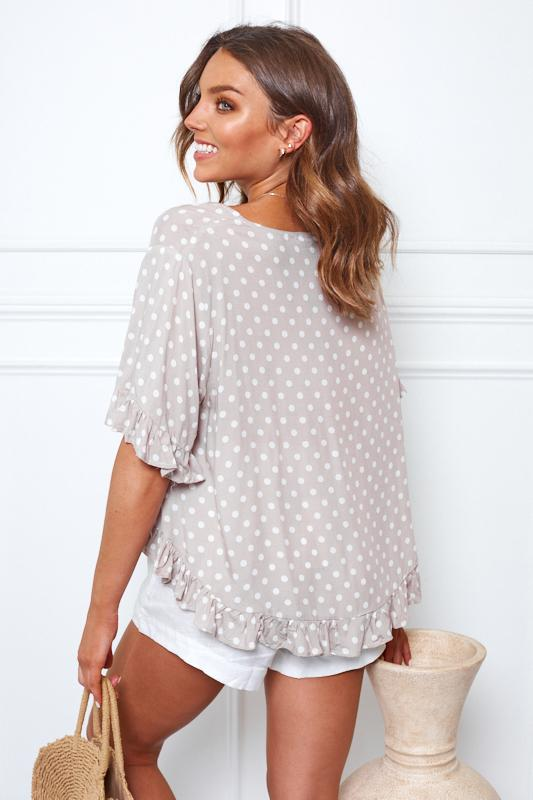Mushie Top - Taupe Spot-Tops-Womens Clothing-ESTHER & CO.
