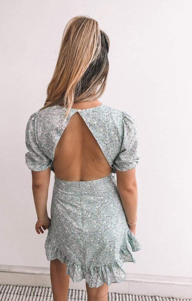 Nadira Dress - Mint Print-Dresses-Womens Clothing-ESTHER & CO.