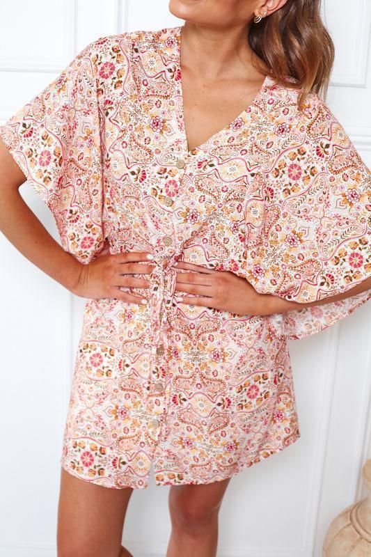 Nala Dress - Pink Print-Dresses-Womens Clothing-ESTHER & CO.