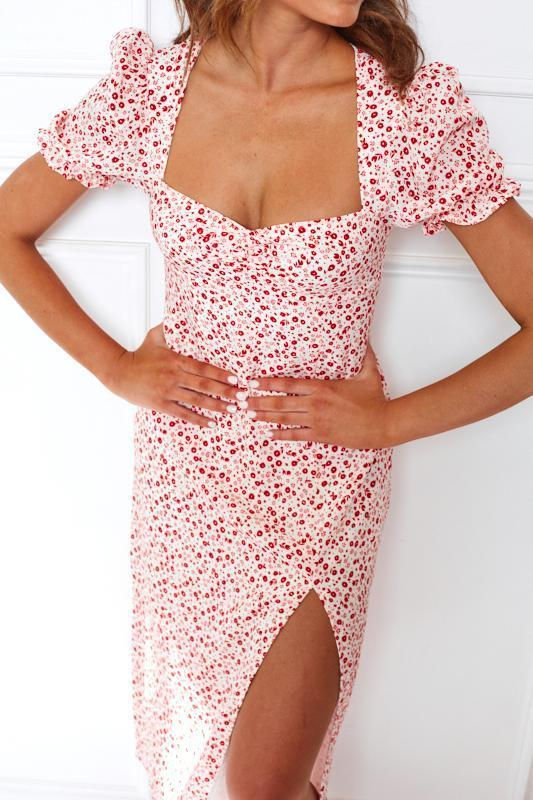 Neagan Dress - Red Print