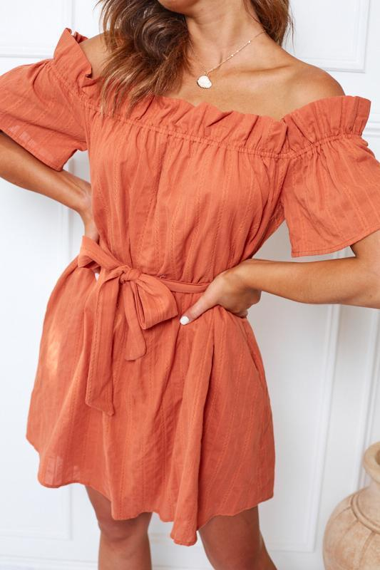 Nectarine Dress - Rust-Dresses-Womens Clothing-ESTHER & CO.