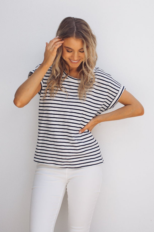 Nerida Tee - Navy Stripe-Tops-Womens Clothing-ESTHER & CO.