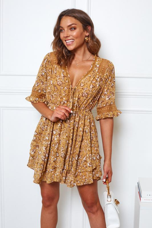 Noteable Dress - Mustard Print-Dresses-Womens Clothing-ESTHER & CO.
