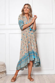 Ocean Dress - Blue Print-Dresses-Womens Clothing-ESTHER & CO.