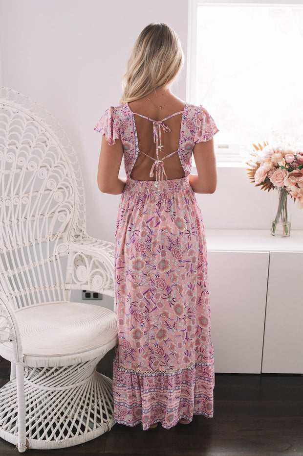 Palomino Dress - Lilac Print-Dresses-Womens Clothing-ESTHER & CO.