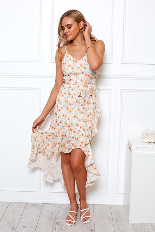 Pansie Dress - Orange Print-Dresses-Womens Clothing-ESTHER & CO.