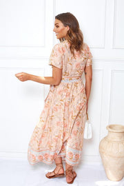 Persima Dress - Peach Print-Dresses-Womens Clothing-ESTHER & CO.