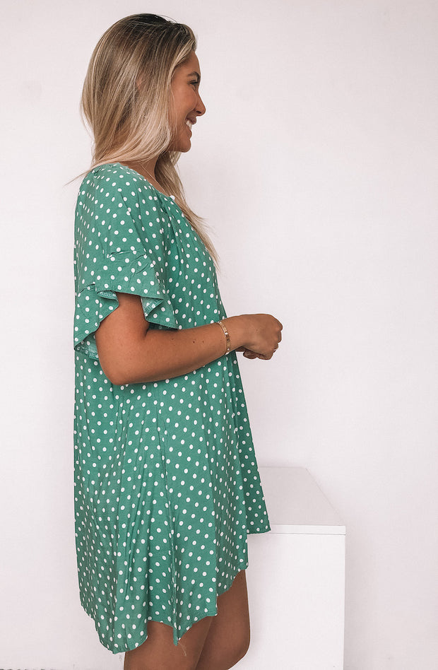 Rumi Dress - Green Spot