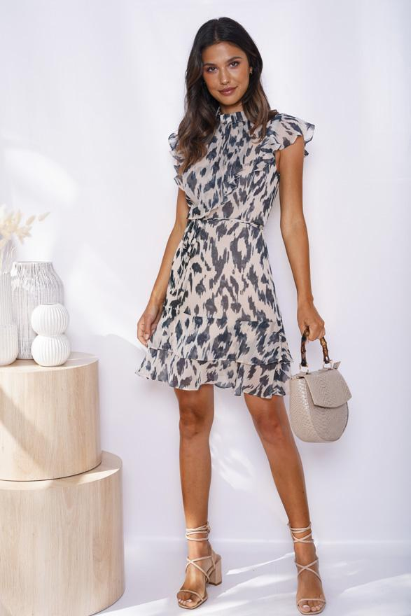 Poki Dress - Beige Print