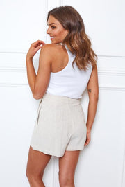 Poolside Shorts - Beige-Shorts-Womens Clothing-ESTHER & CO.