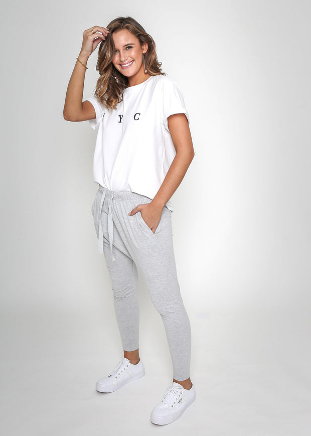 Preorder Chaise Track Pants - Grey-Pants-Womens Clothing-ESTHER & CO.