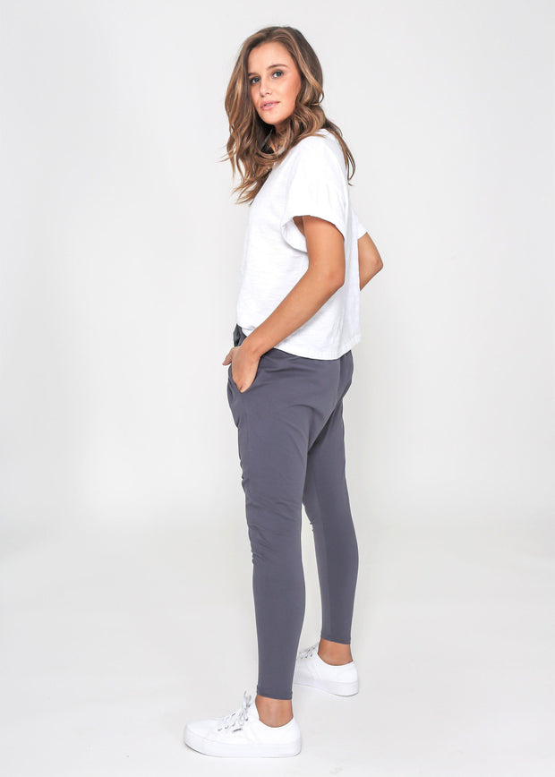 Preorder Chaise Track Pants - Gun Metal-Pants-Womens Clothing-ESTHER & CO.