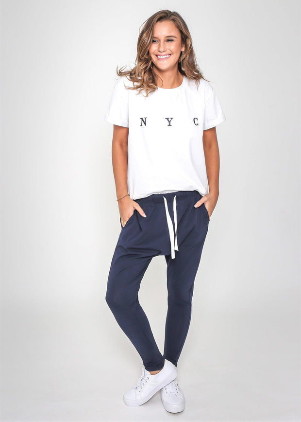 Preorder Chaise Track Pants - Navy-Pants-Womens Clothing-ESTHER & CO.