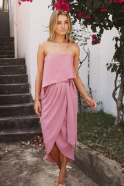 Preorder Fleur Strapless Dress - Dusty Pink-Dresses-Esther Luxe-ESTHER & CO.