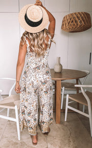 Presley Jumpsuit - Khaki Print-Jumpsuits-Womens Clothing-ESTHER & CO.