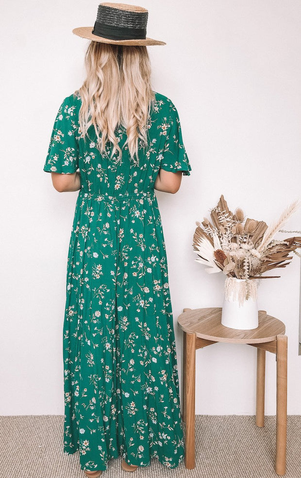 Ranchero Dress - Green Print-Dresses-Womens Clothing-ESTHER & CO.