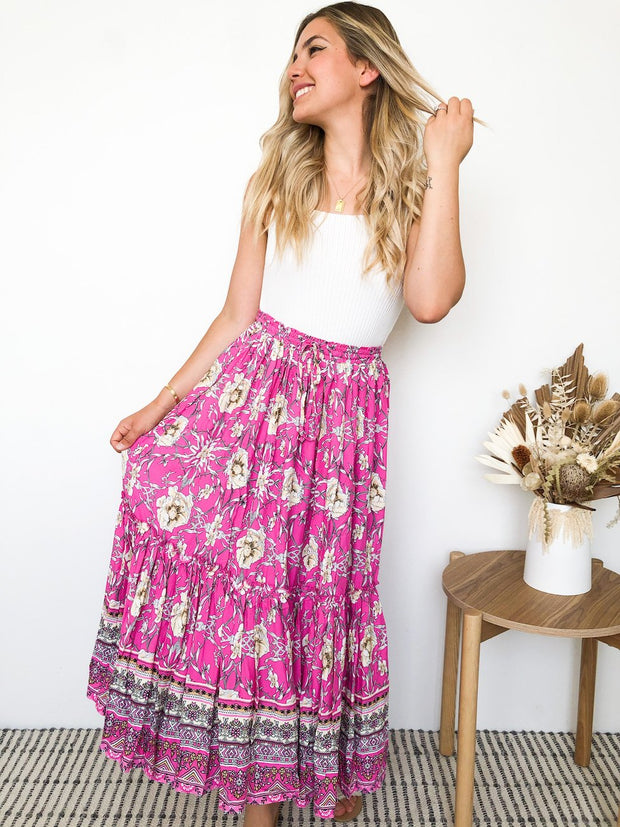 Remi Skirt - Pink Print-Skirts-Womens Clothing-ESTHER & CO.
