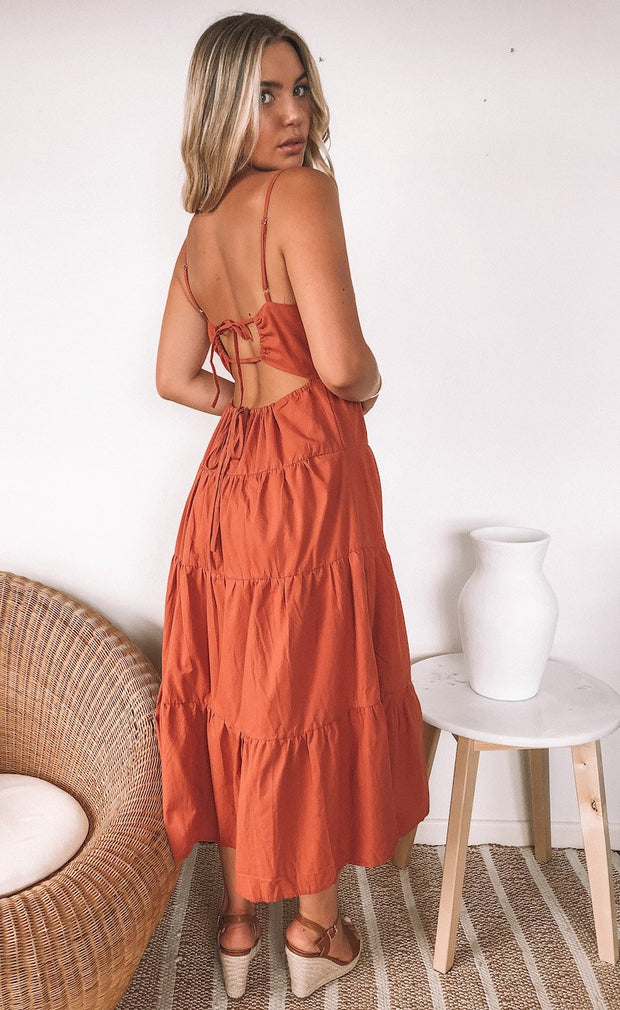 Roseleigh Dress - Rust-Dresses-Womens Clothing-ESTHER & CO.