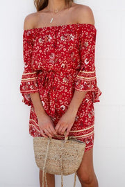 Sadie Dress - Red Print-Dresses-Womens Clothing-ESTHER & CO.