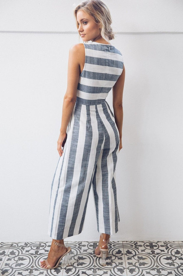Sare Jumpsuit - Navy Stripe-Jumpsuits-Trendy Gallery-ESTHER & CO.